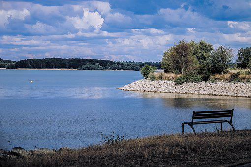 Landscape, Lake, Pond, Water, Bench, Shadow, Clouds