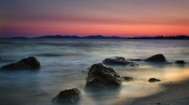 Sunrise, Sea, Beach, Rock, Coast, Stones, Travel