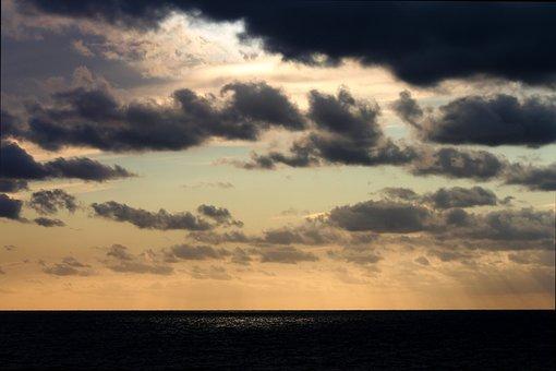 North Sea, Sunset, Afterglow, Abendstimmung