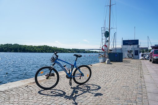 Bike, Beach, Channel, Lake, Sea, Bridge, Tourism