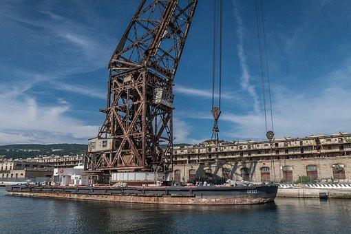 Crane, Port, Old, Rust, Industry, Logistics, Trade