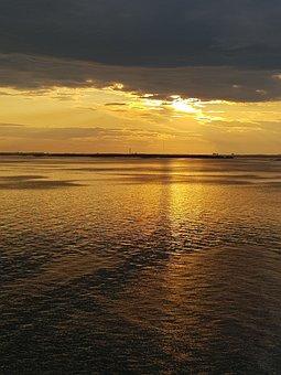 Sunset, Sea, Sky, Water, Ocean, Twilight