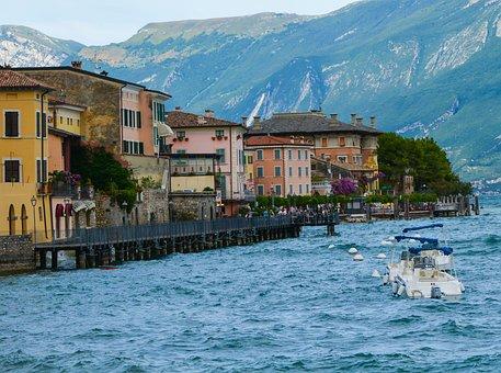 Garda, Lake, Bank, Boat, Wave, Vacations, Mountains