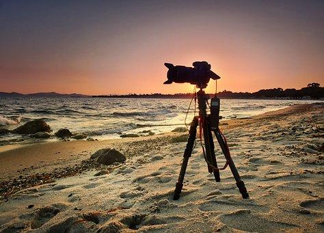 Beach, Sea, Vacations, Sunrise, Horizon, Camera, Sky
