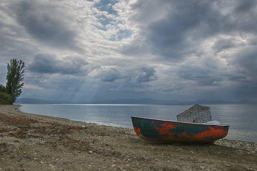 Sea, Sun, Pelion, Greece, Magnesia, Volos, Boat, Clouds