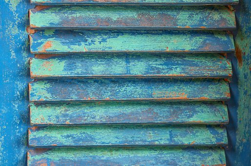 Shutter, Wood, Blue, Turquoise, Weathered, Lamellar
