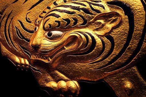 Tiger, Golden, Animal, Texture, Brown, Big, Wildlife