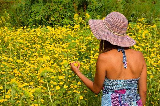 Summer, Woman, People, Flowers, Sunflowers, Beauty