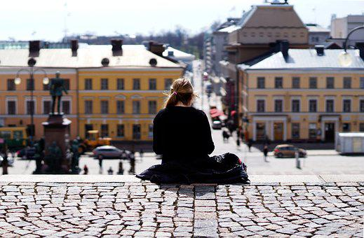 Loner, Loneliness, Girl, City, Area, Paving Stone
