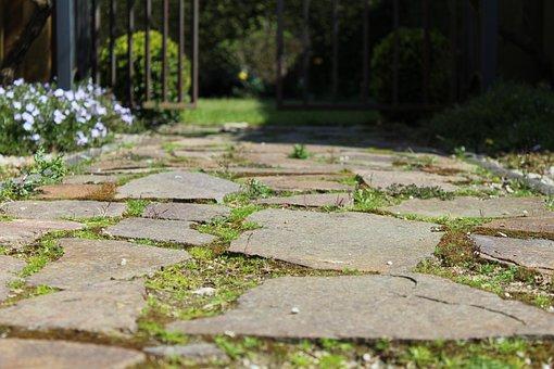 Away, Steinweg, Slabs, Green, Ground, Sidewalk, Stones