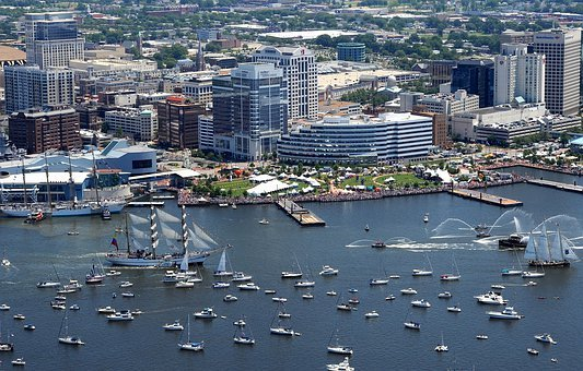 Norfolk, Virginia, Buildings, Skyline, Bay, Harbor