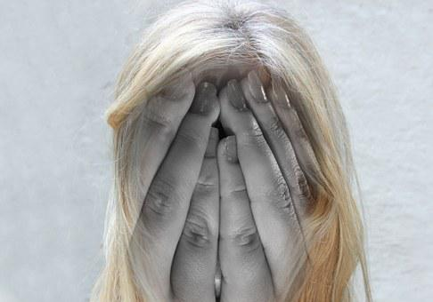 Woman, Face, Psychosis, Head, Hands, Headache, Burnout