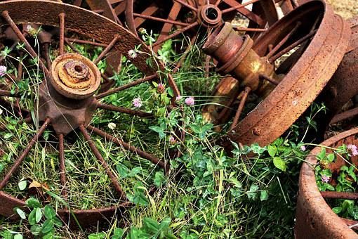 Rusty, Wheels, Clover, Salvage, Scrap, Abandoned, Metal