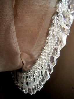 Curtain, Drape, Folds, Salmon Colored, Crystal Beads