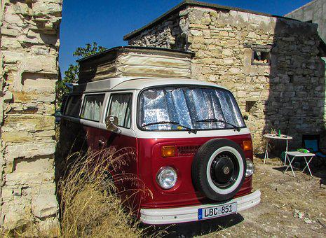 Caravan, Red, Old House, Village, Kato Drys, Cyprus