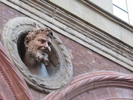 Devil, Bologna, Italy, Head, Architecture, Building