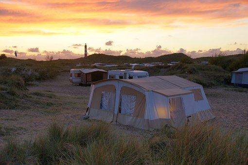 Campsite, Folding Caravan, Amrum, Sunset, Dunes