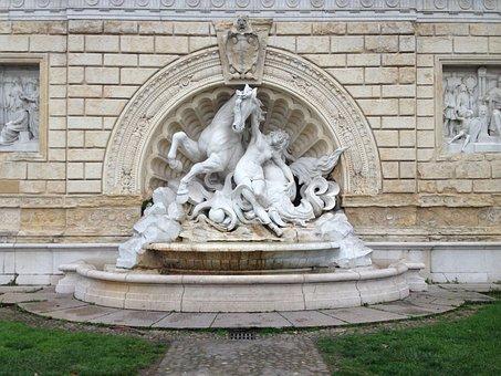 Fountain, Park, Bologna, Italy, Sculpture, Kust, Fig