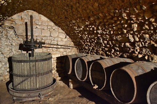 Press, Cave, Barrel, Wine, France, Castle, Old Barrel