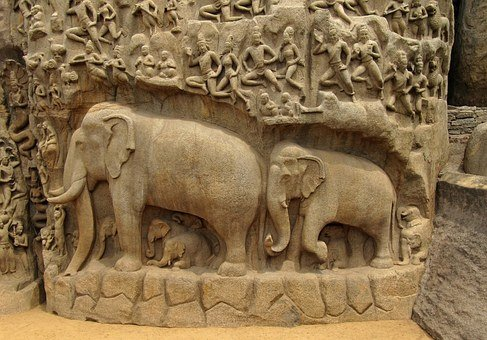 Elephants, Bas Relief, Indian, Monument, Cultural