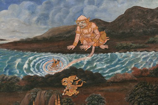 Painting, Gods, Buddhist, Pattern, Narrative, Interior