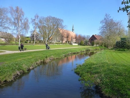 Gelting, Citizens Park, Fish, Water, Meadow, Church