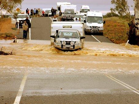 Car, Caravan, Flood, River, Brown Mud, Water, Muddy