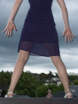 Girl, Woman, Legs, Fear, Panic-stricken, Balcony, Jump