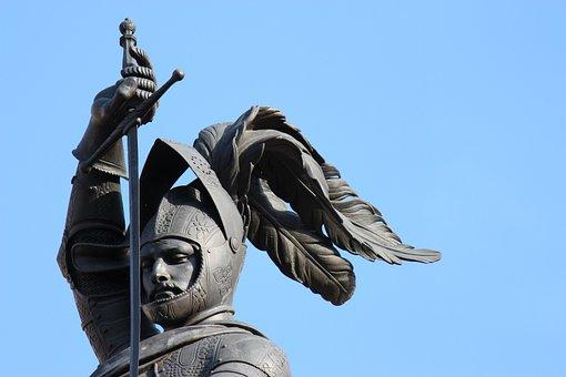 Statue, Knight, Bronze, Armor, Elmo, Sword, Plume