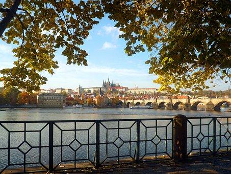 Prague, Vltava, Castle, Charles Bridge, Czech Republic