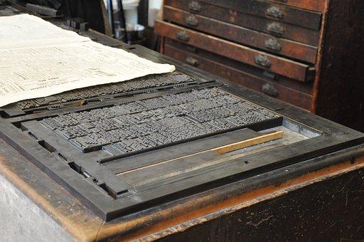 Old Print Press, Press, Printing Press, Paper, Printing