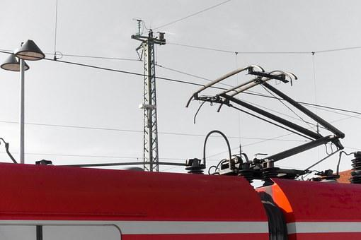 S Bahn, Red, Catenary, Train, Lighting, Current