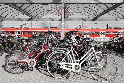 Bike, Parking Space, Wheel, White, Red, Park, Bikes