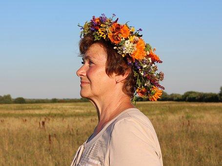 Woman, Wreath, Flowers, Smile, Joy, Rite, Fairy