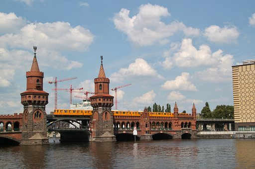 Bridge, Oberbaumbrücke, River, Architecture, City