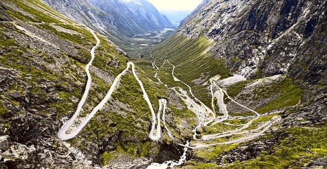 Trollstigen, Road, Serpentine, Norway