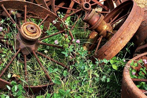 Rusty, Wheels, Clover, Salvage, Scrap, Abandoned, Metal