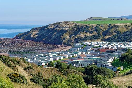 Seaview, Scenery, Horizon, Sea, Caravan Park, Chalets