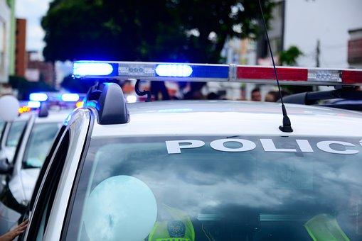 Car, Police Cars, Caravan, Sirens, Red, Blue, Lights