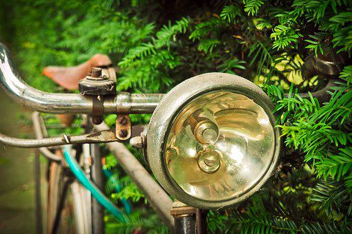 Bike, Bicycle Lamp, Wheel, Metal, Old, Stainless