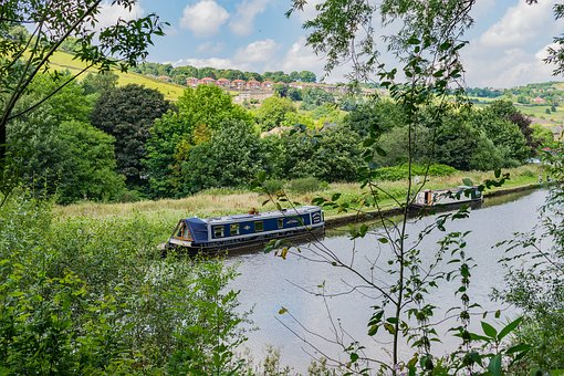 Canal, Boat, Landscape, Stalybridge