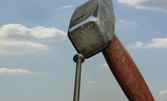 Hammer, Nail, Sky, Diy, Clouds, Metal, Tool, Works