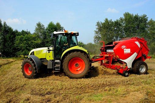 Tractor, Round Baler, Custom Work, Hay, Retract, Meadow