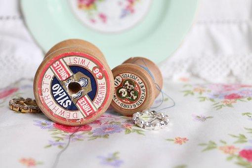 Vintage Spools, Vintage Thread, Vintage Cotton, Sewing