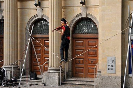 Violinist, Tightrope Walker, Clown, Equilibrist, Street