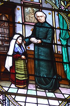 Stained Glass, Window, Heavy, Abbot, Bernadette, Sainte