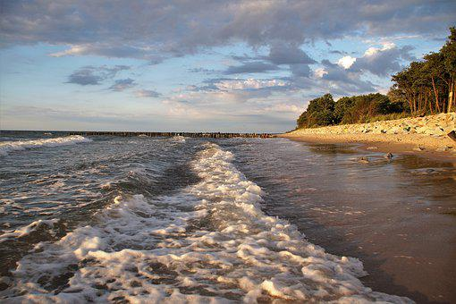 The Baltic, Sea, Waves, The Influx Of, Coast, Beach