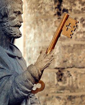 Statue, Church, Holy, Golden Key, Religion, Sculpture