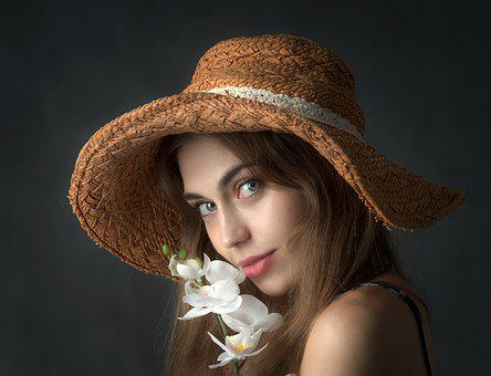 Girl, Woman, Portrait, Hat, Flower, Look, Young