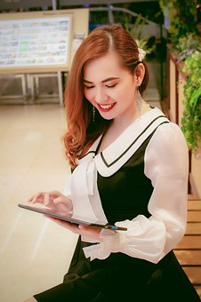 Beautiful Girl, Laugh, Beautiful, Tablet